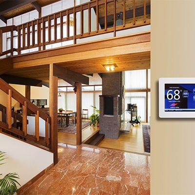 smart air conditioning device installed in living room