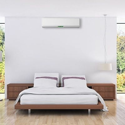 split system aircon in posh bedroom